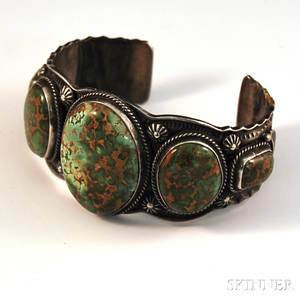 Daniel Sunshine Reeves Sterling Silver and Turquoise Navajo Cuff Bracelet