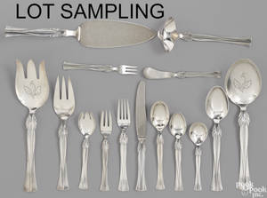 Danish sterling silver flatware service by Frigast in the Queen Christina pattern