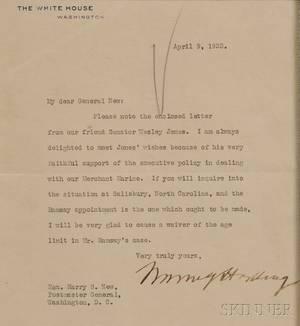 Harding Warren 18651923 Typed Letter Signed 9 April 1923