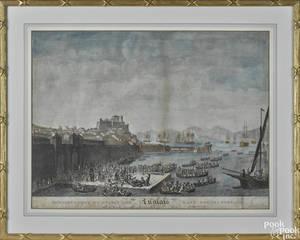 Pair of Italian handcolored engravings 18th19th c