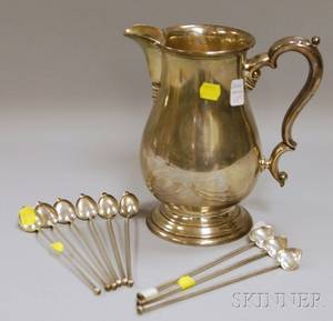 International Lord Saybrook Sterling Silver Water Pitcher and Nine Assorted Iced Tea Sippers