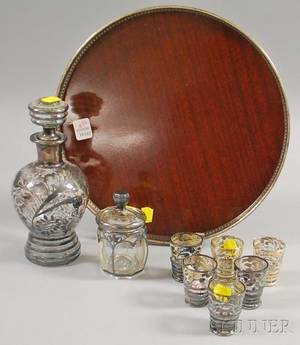 Silver Overlay Decanter and Cordial Set