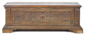 Italian carved oak coffer late 17th c