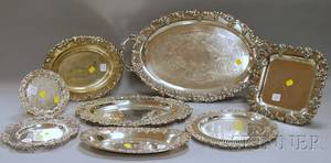 Eight Assorted Silverplated Serving Trays