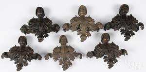 Set of six bronze architectural elements 19th c