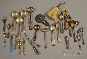 Group of Mostly Sterling and Coin Silver Spoons and Accessories