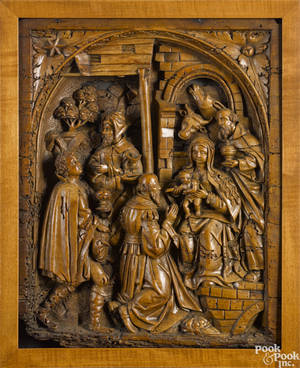 German relief carved plaque of the Holy Family 18th c