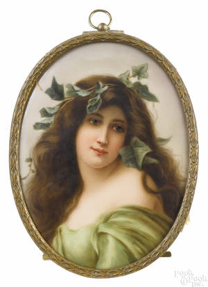 Hutschenreuther painted porcelain plaque of a maiden late 19th c