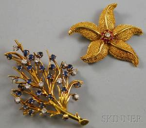 Two 18kt Gold Diamond and Colored Gemstone Brooches
