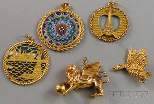 Five Gold Pendants and Brooches