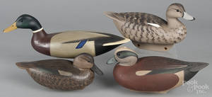 Four contemporary carved and painted duck decoys