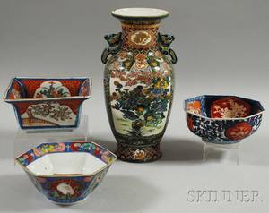 Three Japanese Imari Porcelain Bowls and an Enameldecorated Vase
