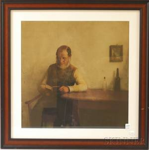Framed Mezzotint Depicting an Interior Scene with a Man Reading at a Table