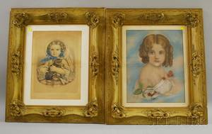 Four Framed Currier  Ives Handcolored Lithographs and Framed Pastel Portrait of a Girl Holding Cherries