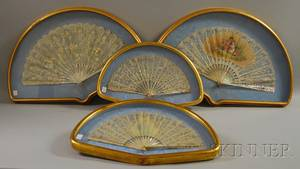 Four Giltwood Box Framed Lace and Motherofpearl Hand Fans