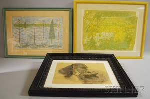 Various Artists 19th and 20th Century Three Framed Works Margaret E Philbrick American 19141999 Winter Gardening