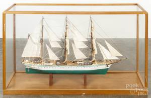 Painted threemasted sail ship model of the  Eagle