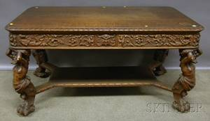 Late Victorian Italian Renaissancestyle Carved Oak Twodrawer Library Table