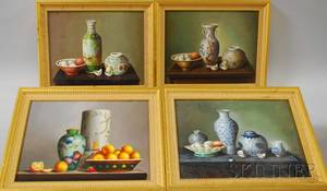 Four Contemporary Oil on Panel Still Lifes