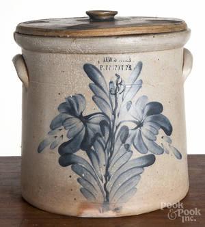 Pennsylvania threegallon stoneware lidded crock