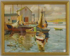 Mae BennettBrown American 18871973 Fishing Boats at Dock