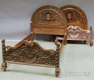 Pair of Assembled Baroquestyle Carved Wood Twin Beds and a Frame
