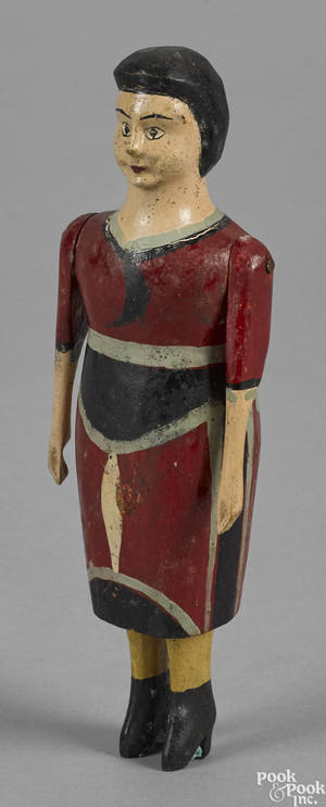 Carved and painted figure of a woman 19th c