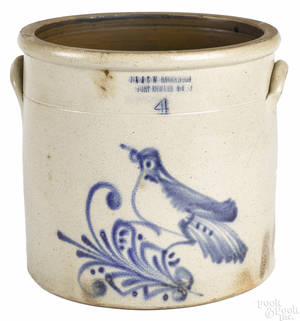 New York fourgallon stoneware crock 19th c
