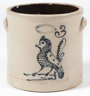 New York threegallon stoneware crock 19th c