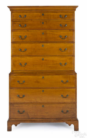 New England Chippendale maple chest on chest ca 1780