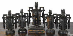 Set of five carved and painted draped urn funeral carriage finials ca 1900