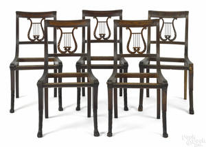 Set of four New York Classical mahogany lyreback Klismos side chairs ca 1815