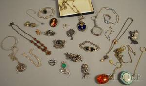 Group of Mostly Antique Silver and Costume Jewelry