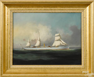 China Trade oil on canvas British sail and steam ship portrait