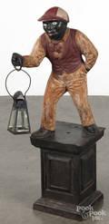 Painted cast iron jockey hitching post