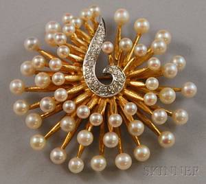 14kt Gold Cultured Pearl and Diamond Sunburst Brooch