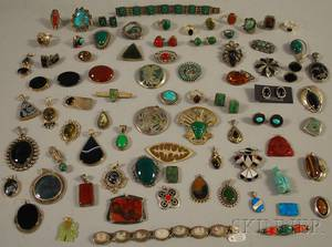 Large Group of Silver and Hardstone Jewelry