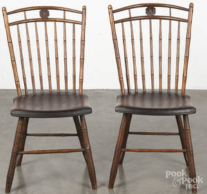Pair of Pennsylvania birdcage Windsor side chairs