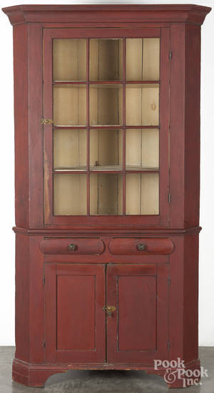 Pennsylvania painted pine and poplar twopart corner cupboard