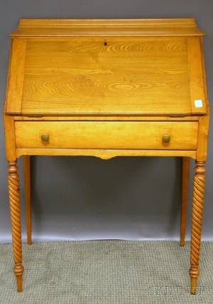 Colonial Revival Maple Slantlid Ladys Writing Desk