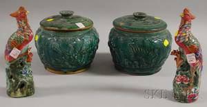 Pair of Chinese Green Glazed Pottery Jars with Covers and a Pair of Bird Figural Flower Holders