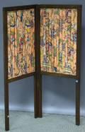 Small English Walnut and Fabric Twopanel Folding Floor Screen