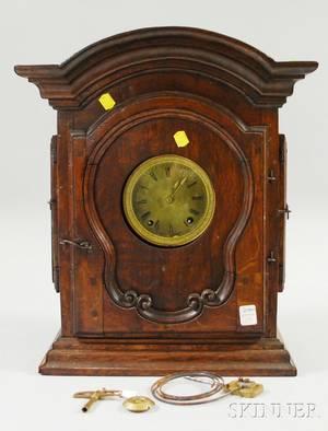 French Provincial Oak Mantel Clock