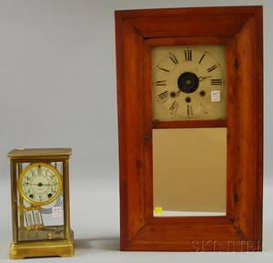 Pine Ogee Shelf Clock and a Brass and Glass Mantel Clock