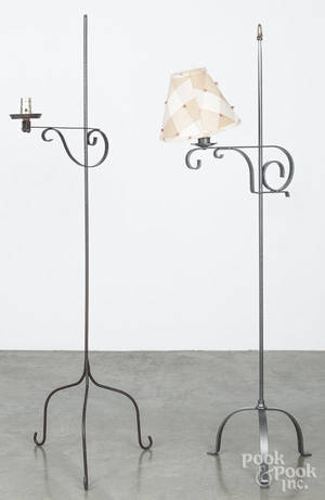 Two contemporary iron floor lamps