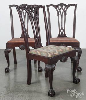 Three Centennial mahogany dining chairs