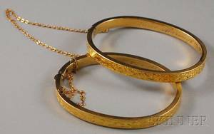 Pair of Victorian 14kt Gold Childs Hinged Bangle Bracelets