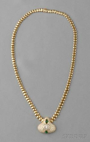18kt Gold Emerald and Diamond Necklace