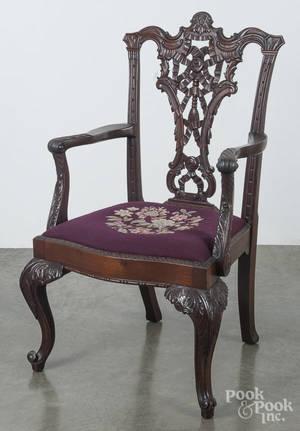 Centennial carved mahogany armchair