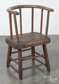 Primitive walnut and pine lowback chair